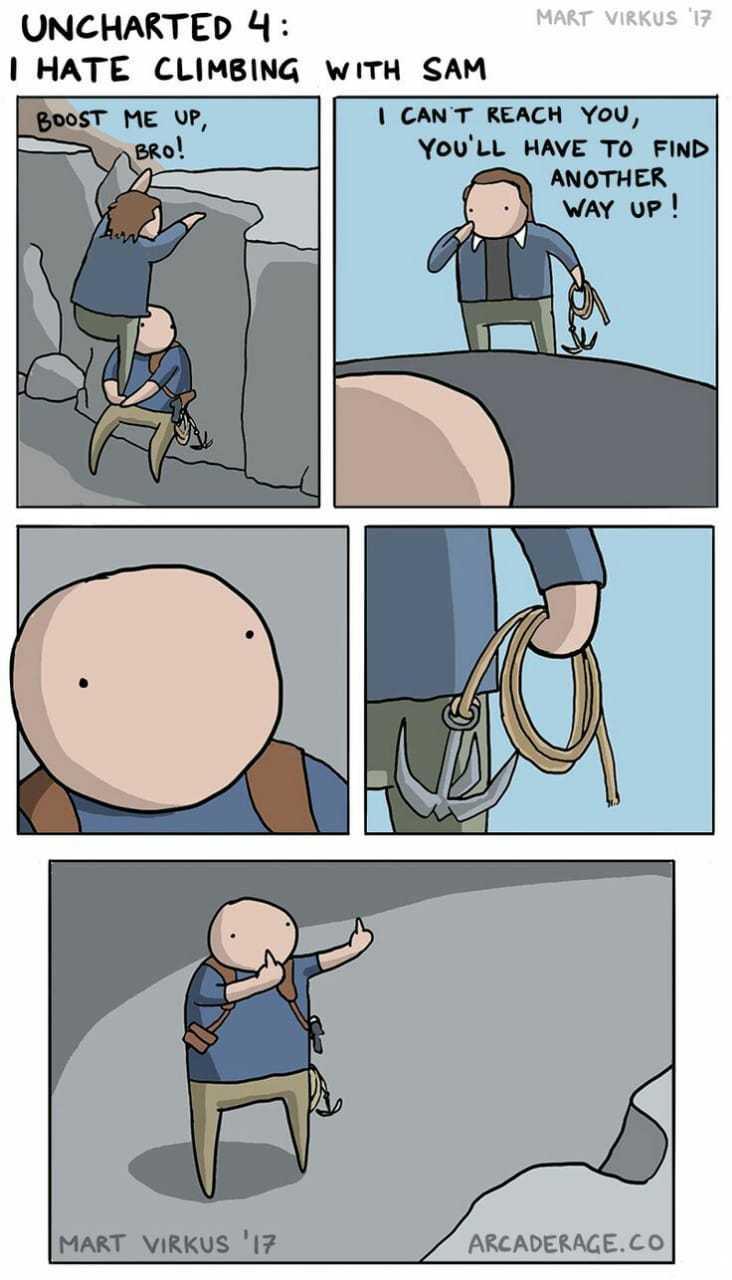 Odio escalar con Sam - meme