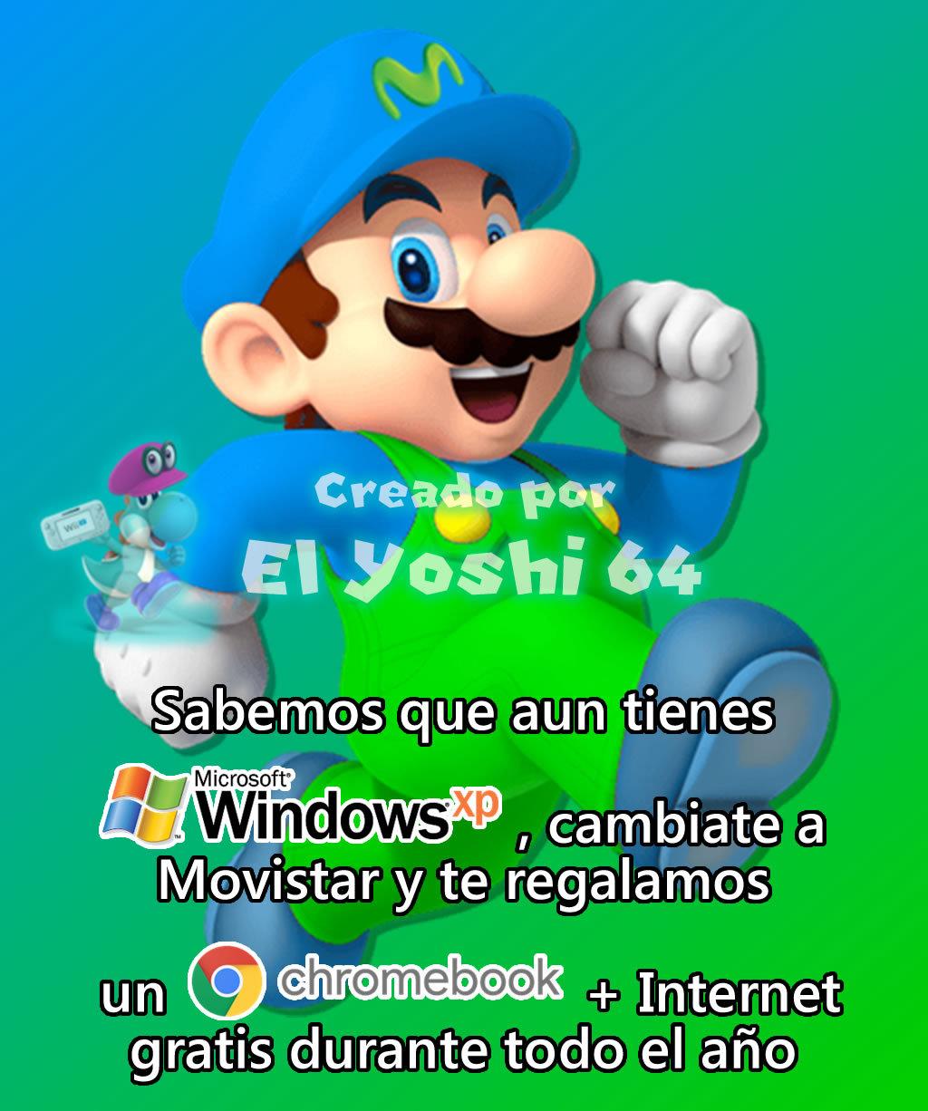 ahora Movistar tambien te ofrece un Chromebook si aun tienes Windows XP, ajajjajajajajajaj - PD: Yo aun tengo Windows 7 - meme