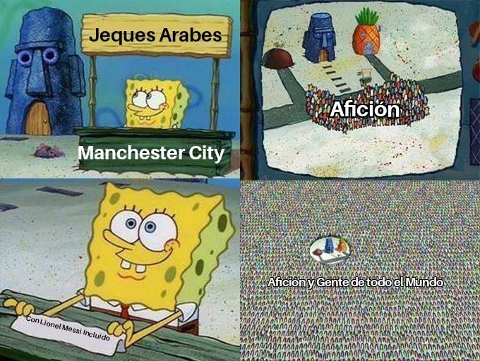 Si Messi ficha por el Manchester City... - meme