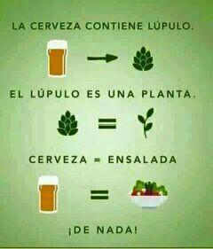Cerveza= ensalada - meme