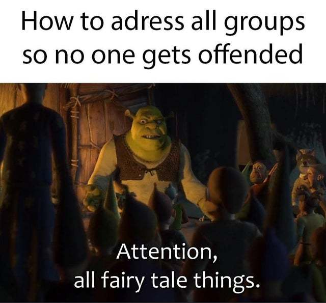 How not to offend anyone as said by shrek - meme