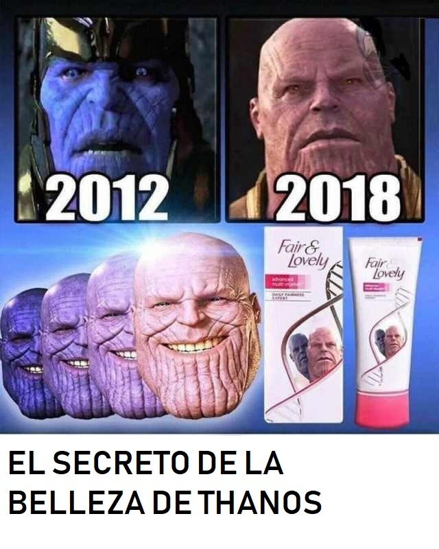 El secreto de la belleza de Thanos - meme