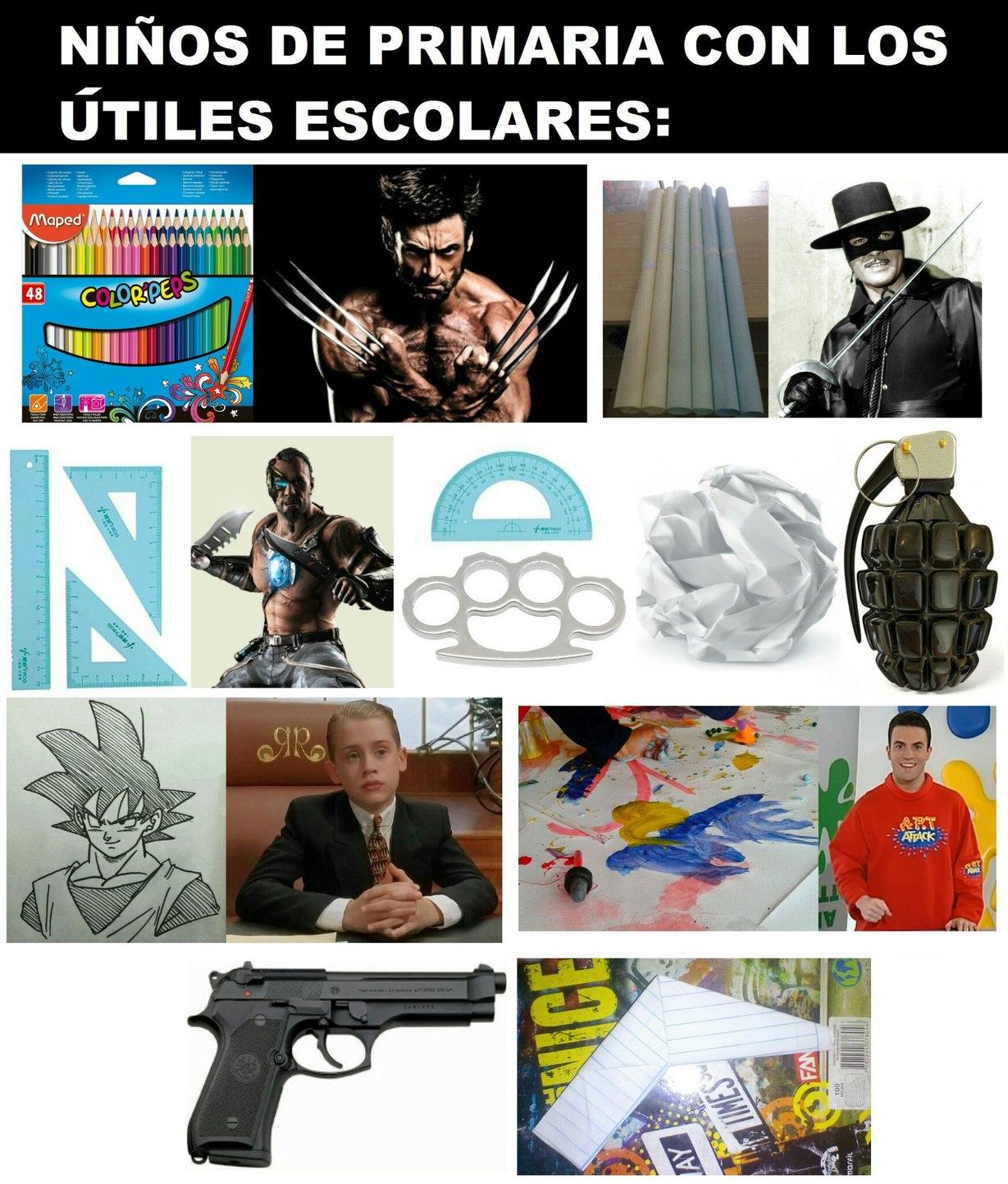 Niños de primaria con los útiles escolares - meme