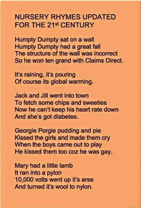 Updated nursery rhymes - meme