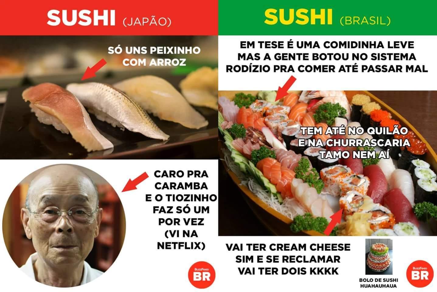 TEM ATÉ PIZZA DE SUSHI MANO - meme