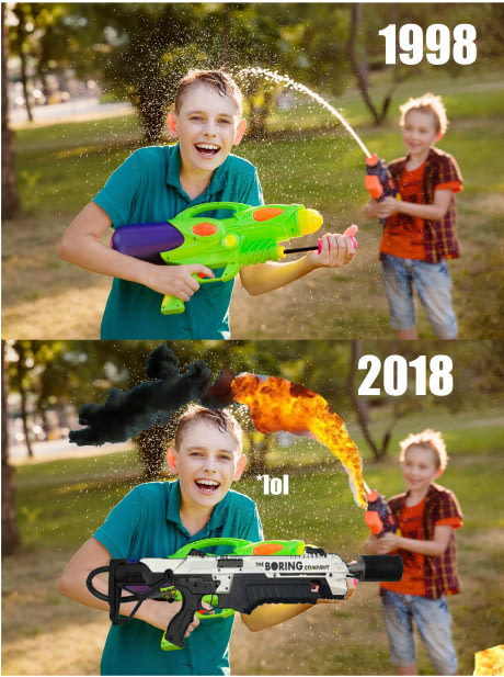 Kids with flamethrowers - meme