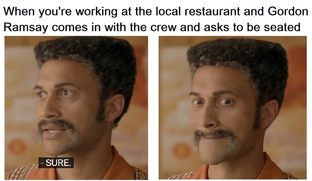 When you are working at the local restaurant and Gordon Ramsay comes in with the crew and asks to be seated - meme