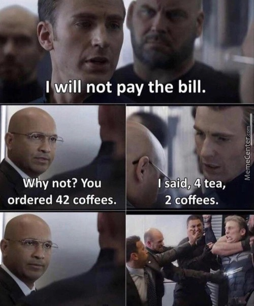 I will not pay the bill - meme
