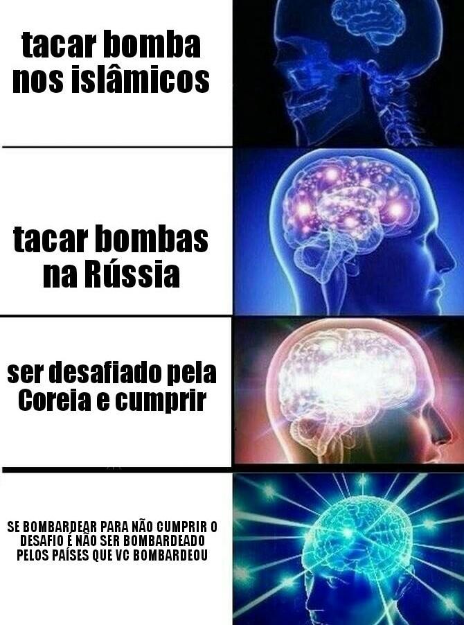 Primeiro quadro: tacar bomba nos....     Quarto quadro: pelos países que vc bombardeou - meme