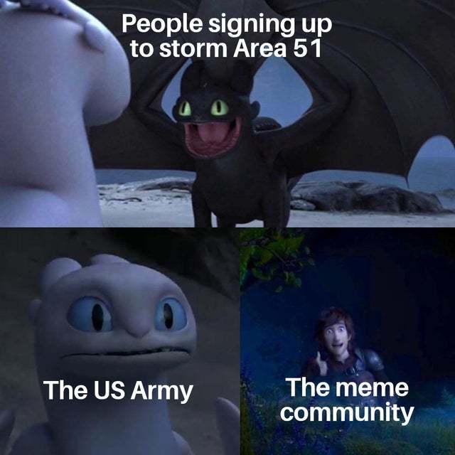 People siigning up to storm Area 51 - meme