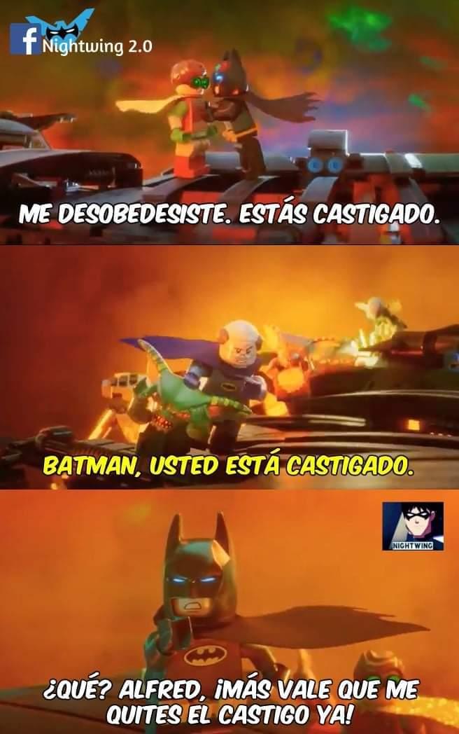 Alfred puede castigar hasta a Batman - meme