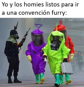 Con trajes de protección para repeler el cringe - meme