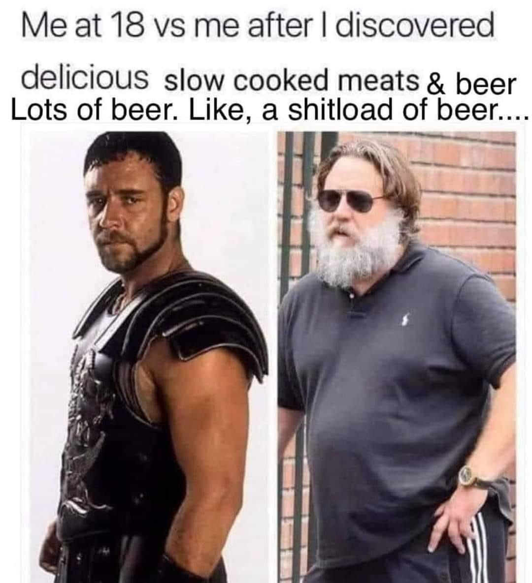 Delicious beer and meat - meme