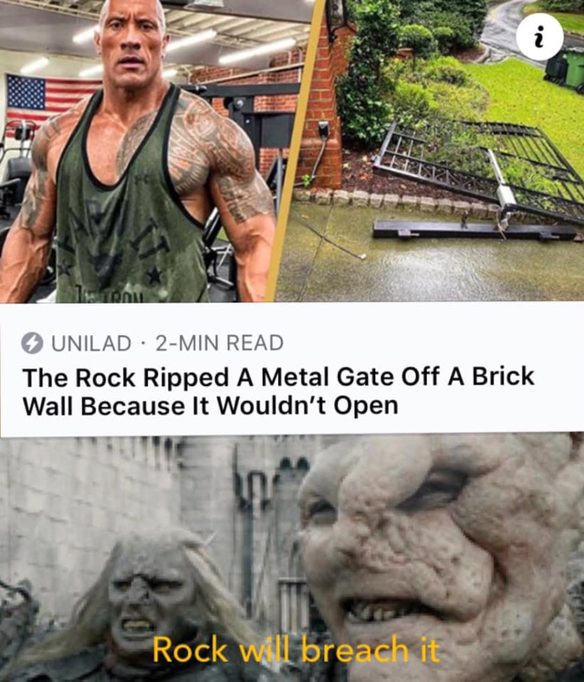 The Rock ripped a metal gate off a brick wall because it wouldn't open - meme