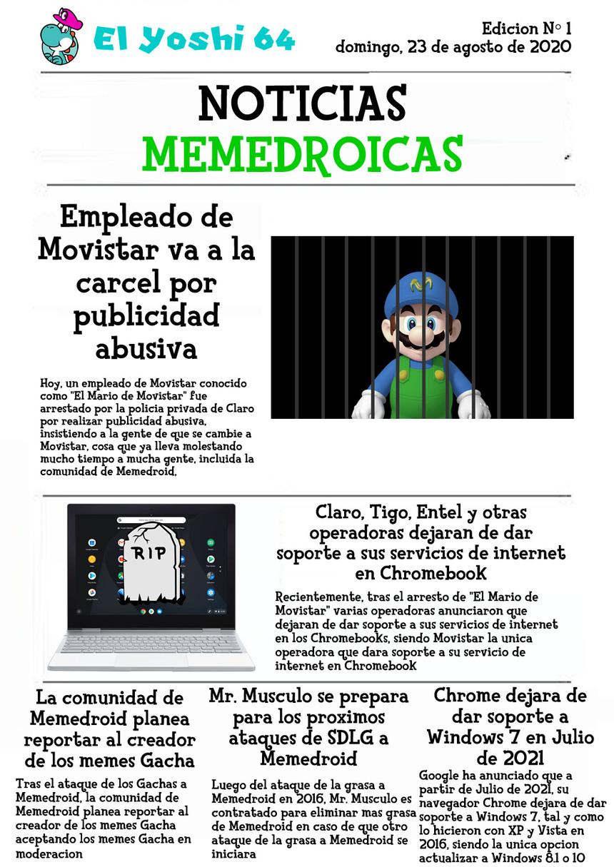 Periodico El Yoshi 64 - Edicion Nº 1 - domingo, 23 de agosto de 2020 - meme