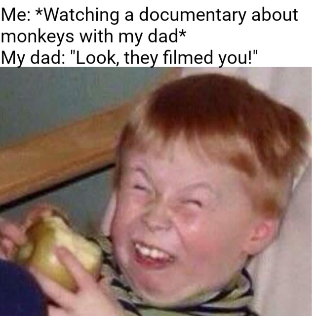 Watching a documentary about monkeys with my dad - meme