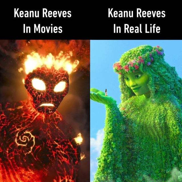 Keanu reeves in movies vs Keanu Reeves in real life - meme