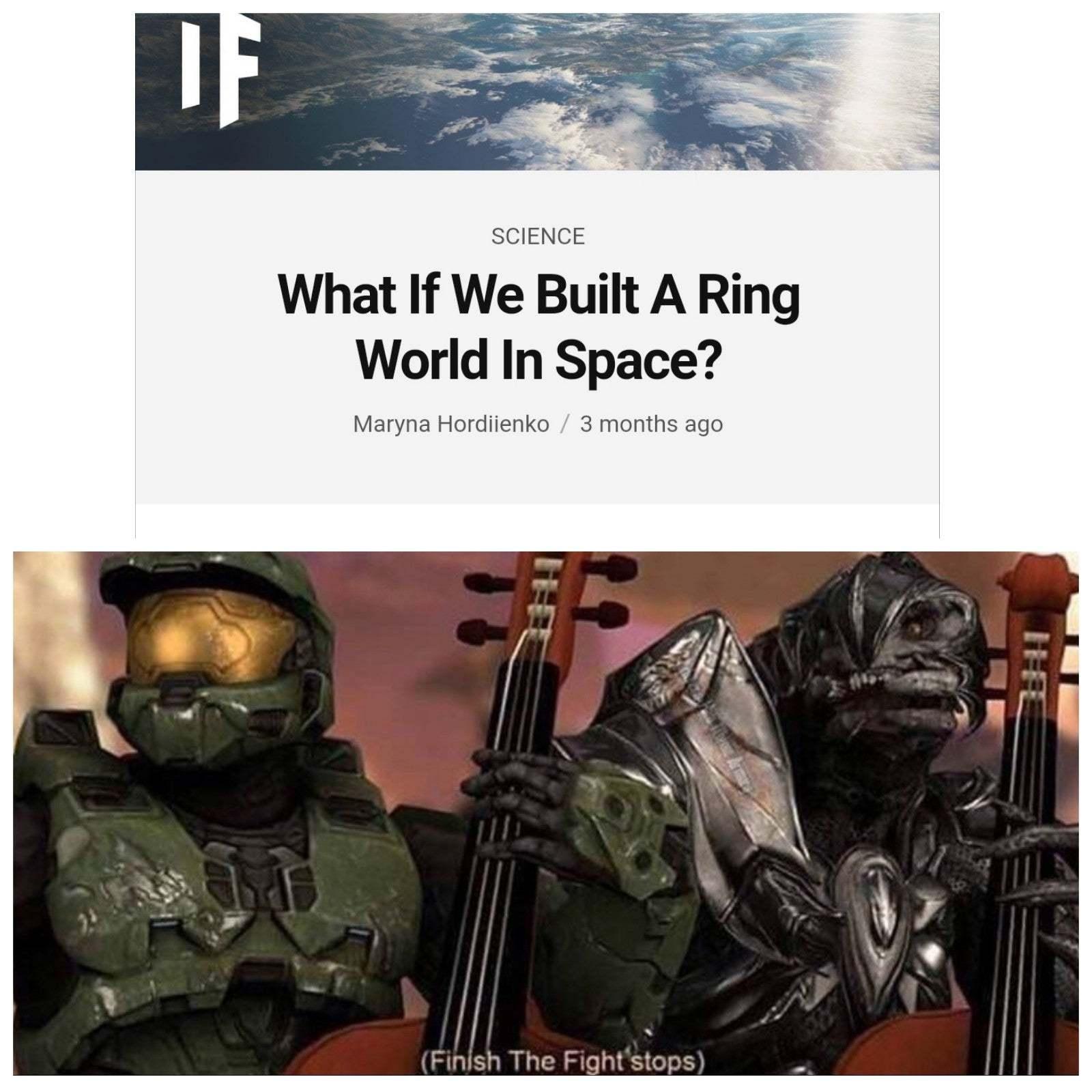 E se nós construissemos um mundo em forma de anel no espaço? - meme