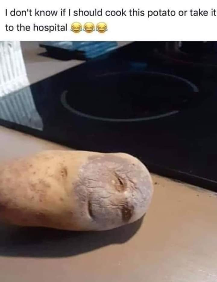 Potato looks stoned as fuck - meme