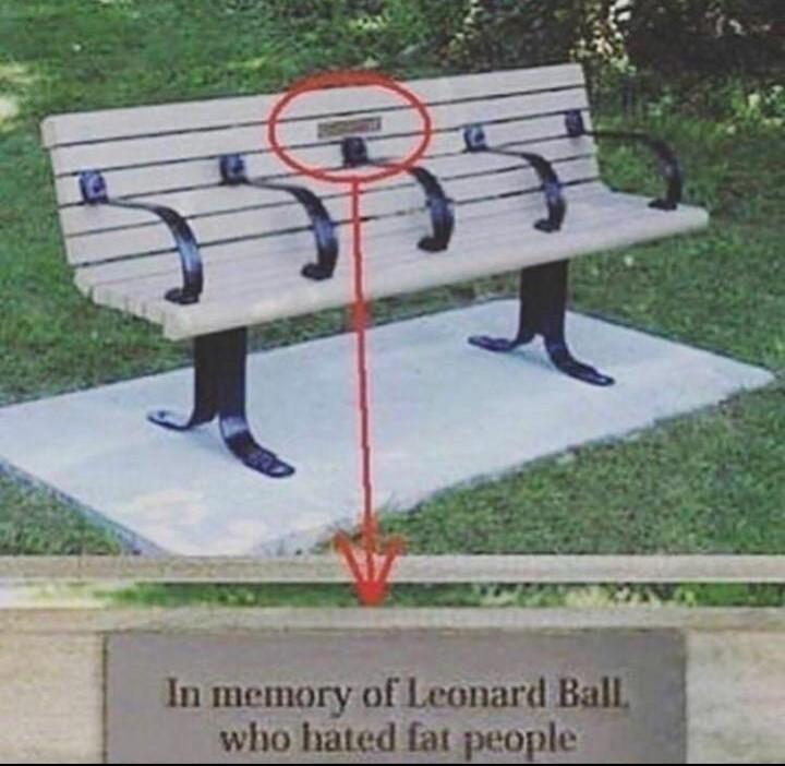 """""""Em memória de Leonard Ball, que odiava pessoas gordas"""" - meme"""