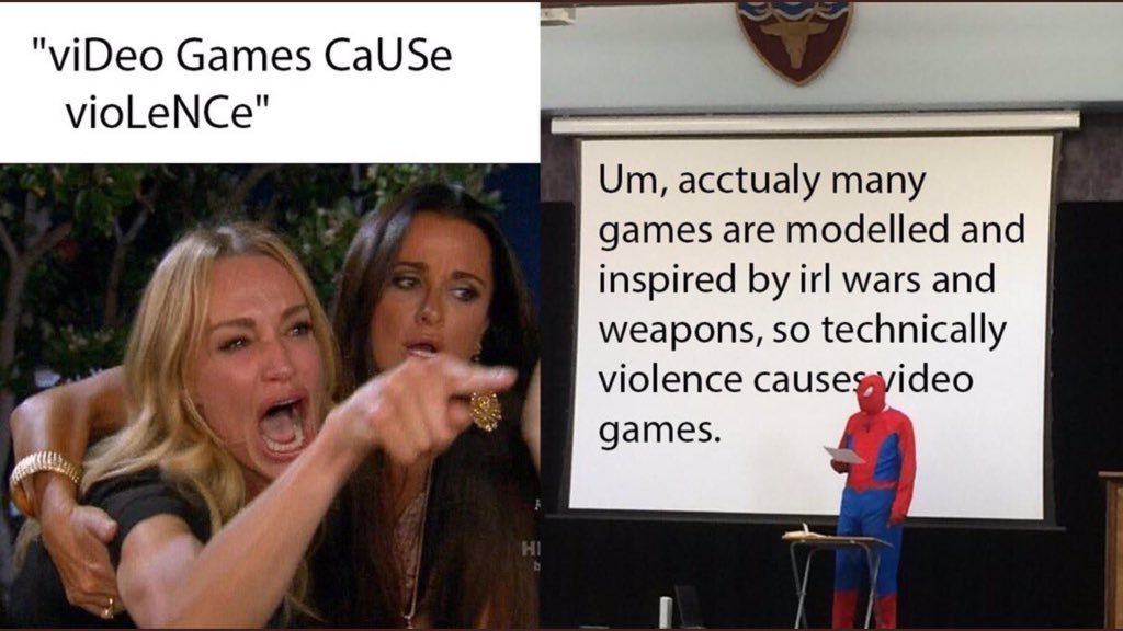 Video games are caused by violence - meme