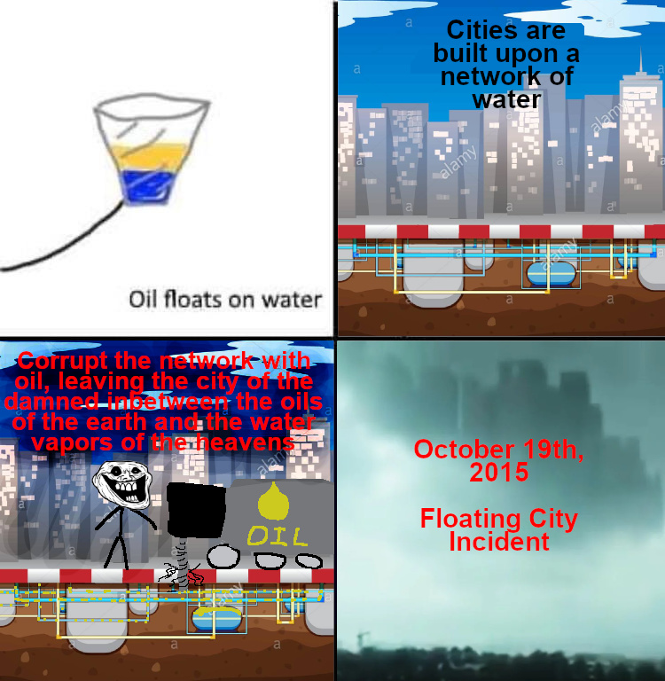 Cover the whole city in oil - meme