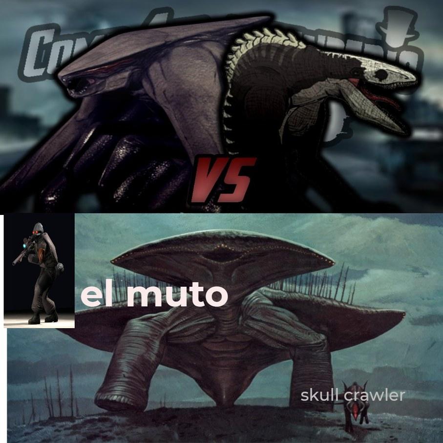 ahora que lo pienso el skull crawler en kong vs zilla y el muto no tendrian el mismo tamaño??? - meme