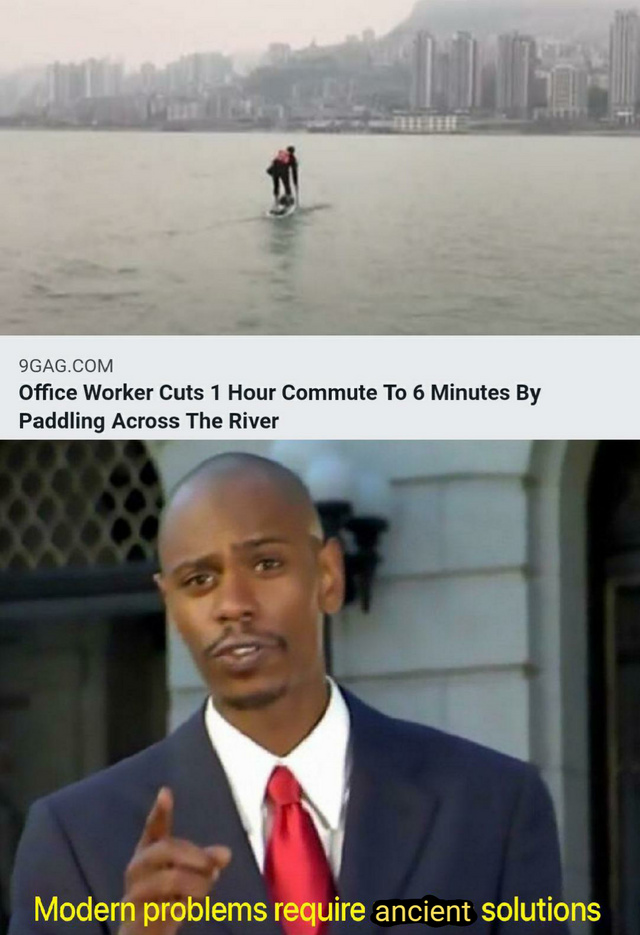 Office worker cuts 1 hour commute to 6 minutes by paddling across the river - meme