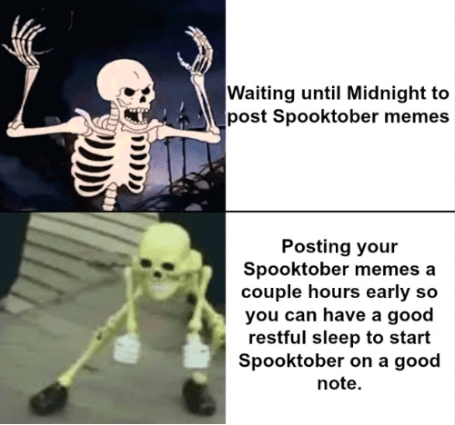 Spooked scary skeleton - meme