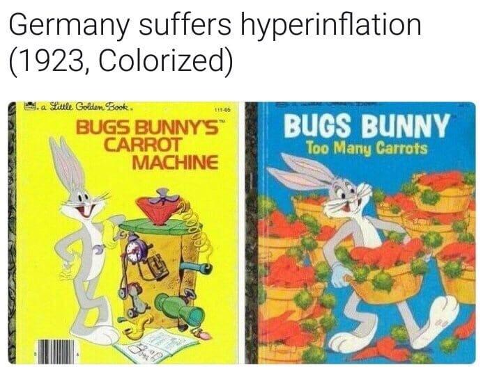 Alemanha sofre hiperinflação, 1923, colorizado - meme