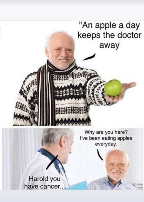 2 apples a day now - meme