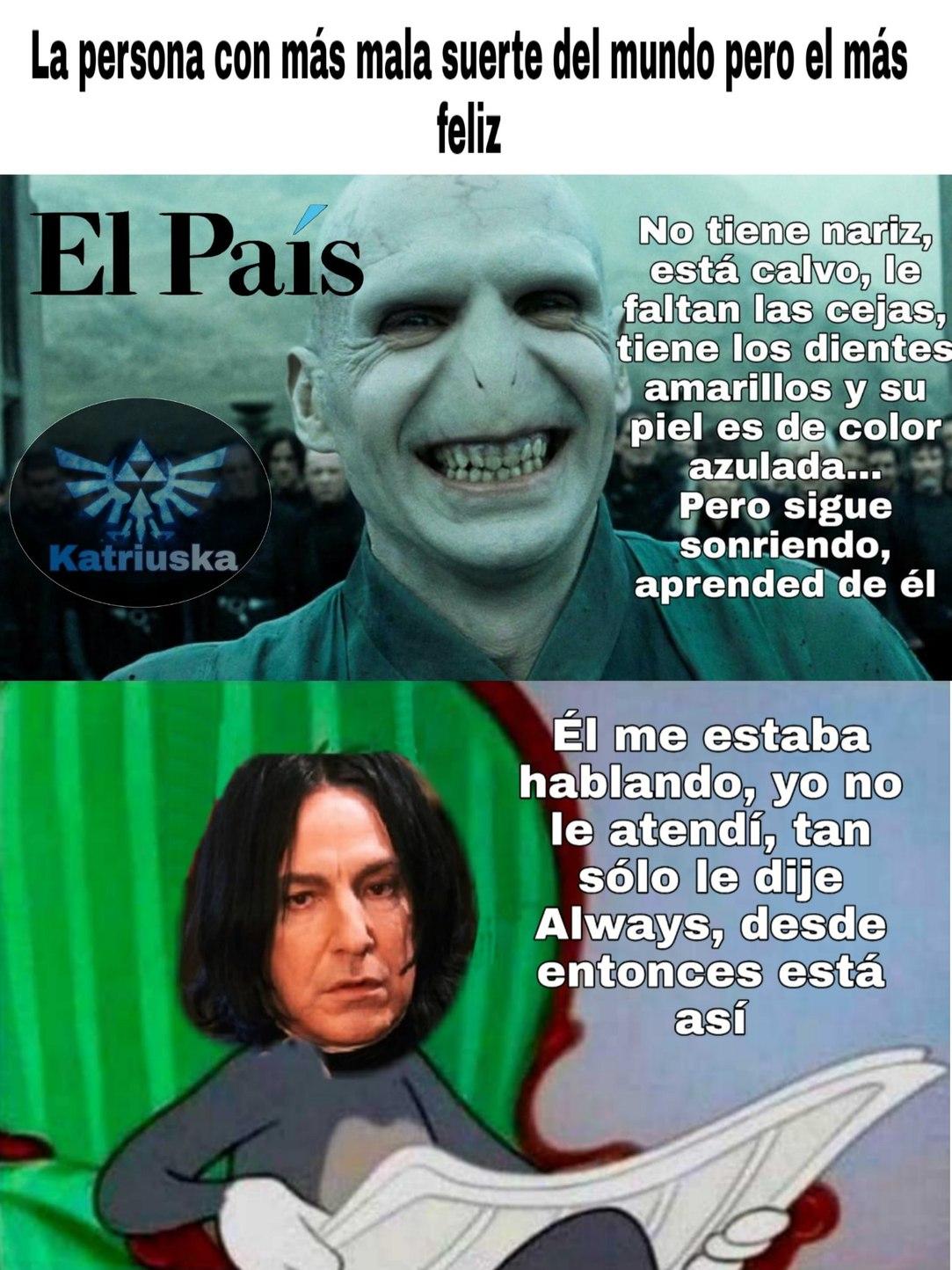 La felicidad de Voldemort - meme