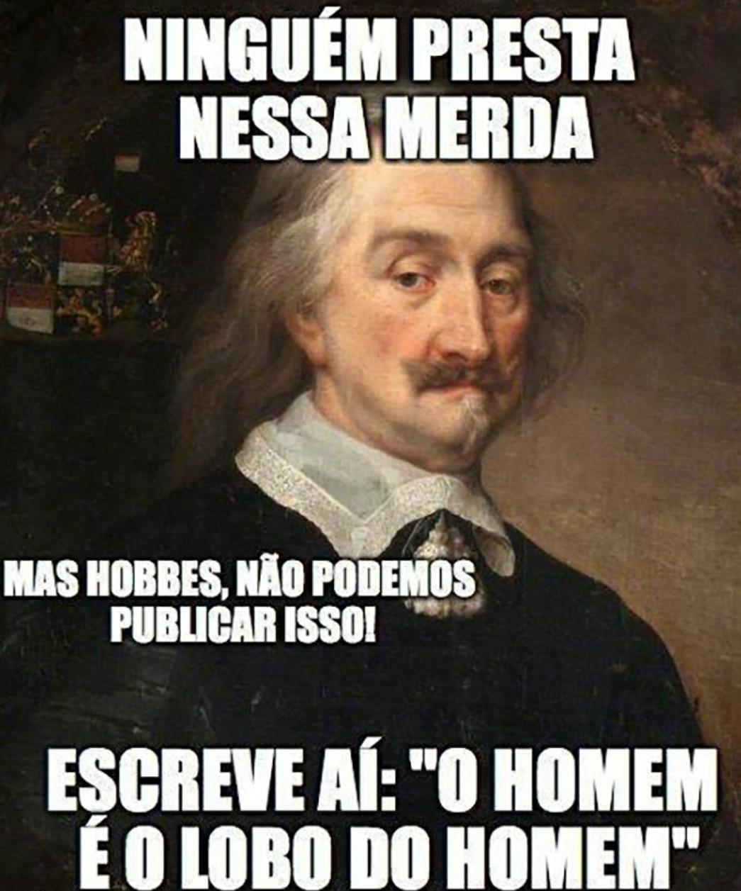 Mente vazia oficina de Thomas Hobbes - meme