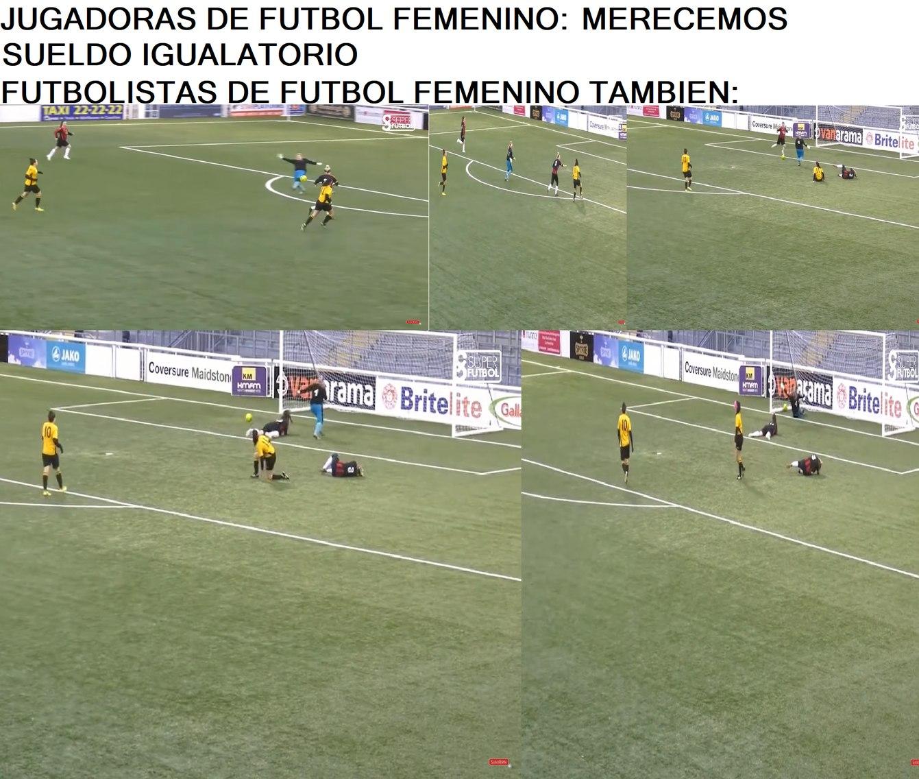la portera la caga, las del equipo amarillo cojen el balon, la del equipo amarillo patea el balon, una defensa del otro equipo la caga y se cai y pues gol - meme