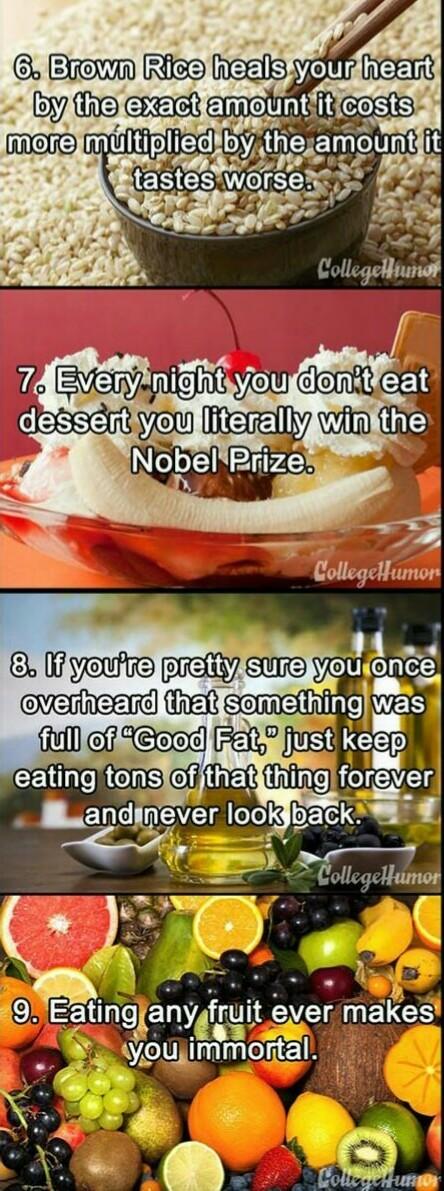 Completely true health advice part 2 - meme