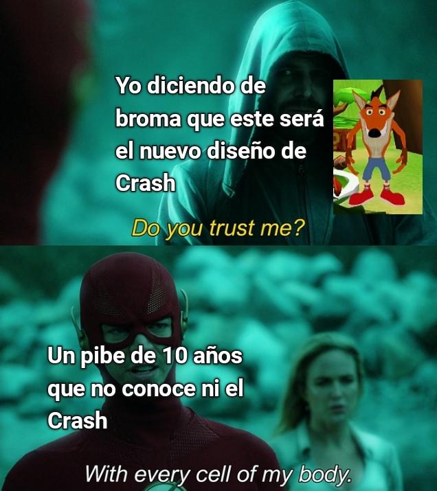 Ese diseño de Crash lo saqué de un fangame - meme