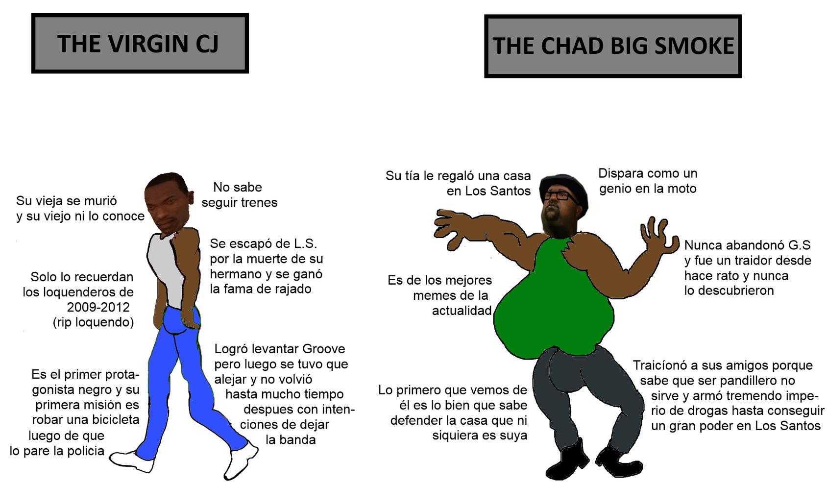 The Virgin CJ vs. The Chad Big Smoke - meme