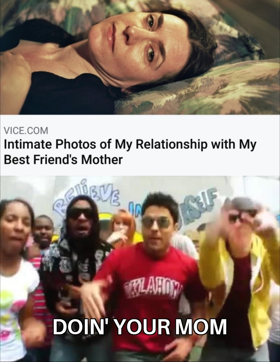 """Can't believe someone wrote a whole article and took a bunch of pics just to say """"doin your mom"""" - meme"""