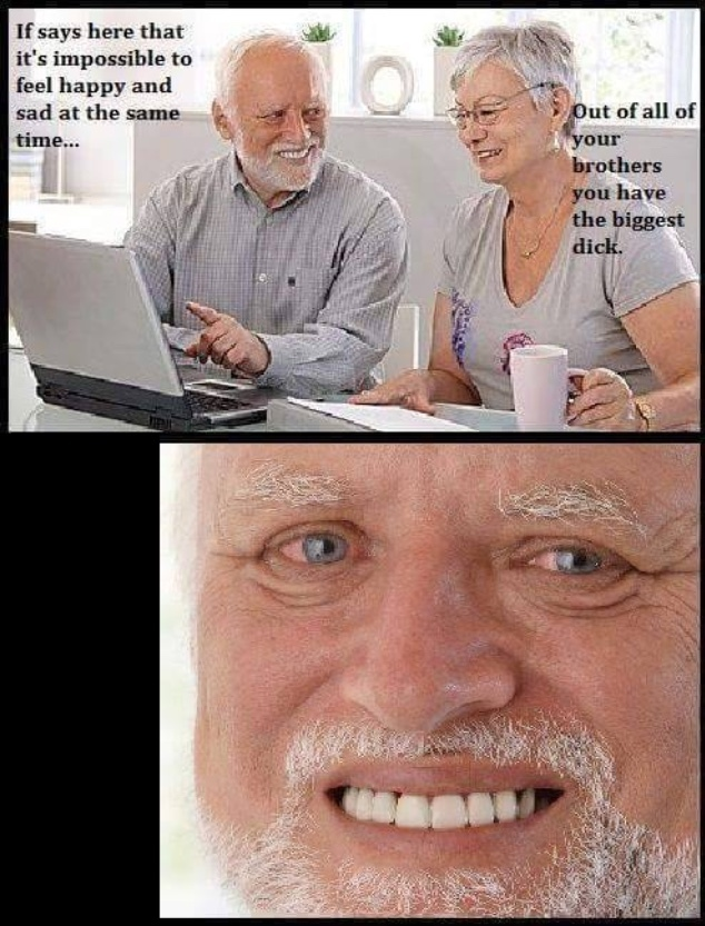 the pain in his eyes is real - meme