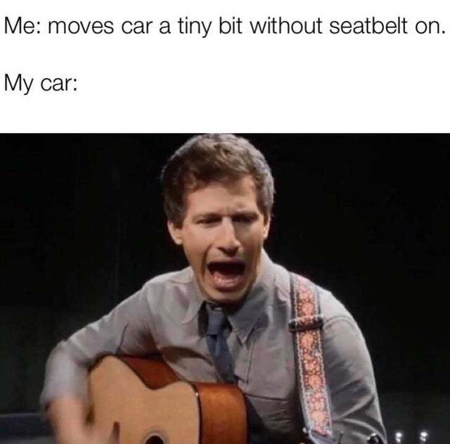 When i move my car without seatbelt on - meme