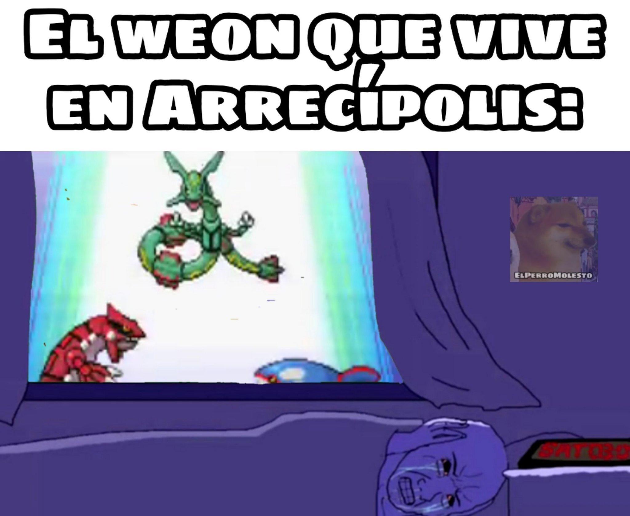 Explicacion: En pokemon Esmeralda se desata una pelea entre pokemones legendarios en la ciudad de Arrecípolis - meme