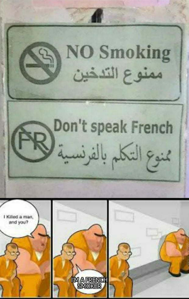 French smokers the most dangerous type of French people - meme