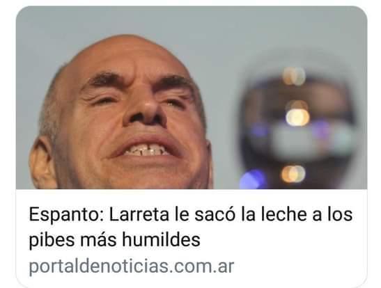 Contexto: Horacio Rodríguez Larreta es un politico y economista Argentino que en el 2019 redujo el envio de leche en polvo a los centros de salud - meme