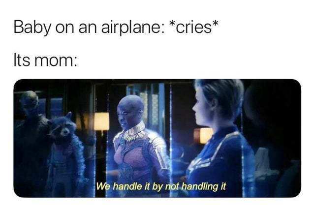 Baby crying on an airplane - meme