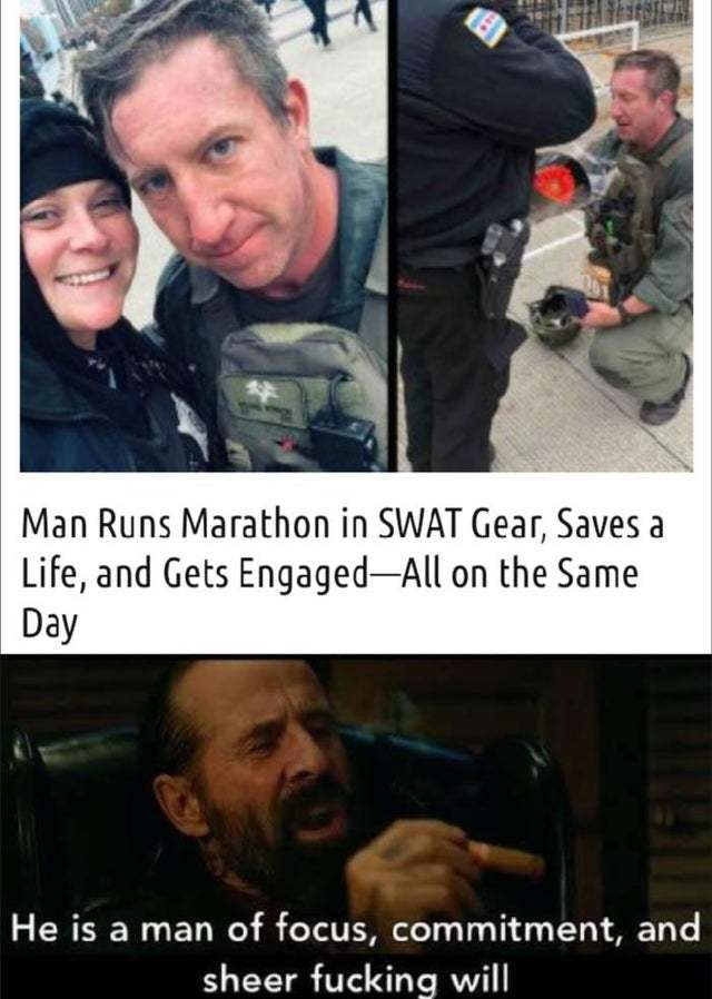 Man runs marathon in SWAT gear, saves a life and gets engaged - meme