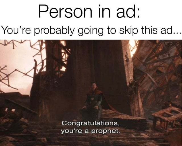 You are probably going to skip this ad - meme