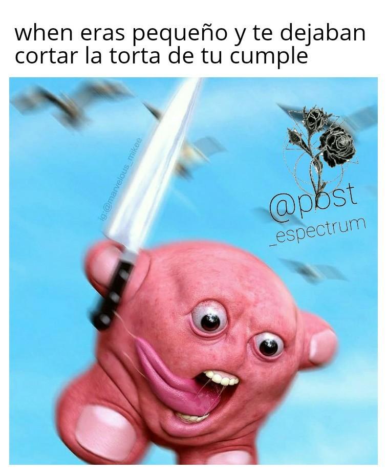 When eras pequeño y te dejaban cortar la torta de tu cumple - meme