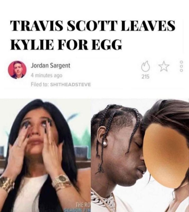 Travis Scott leaves Kylie for egg - meme