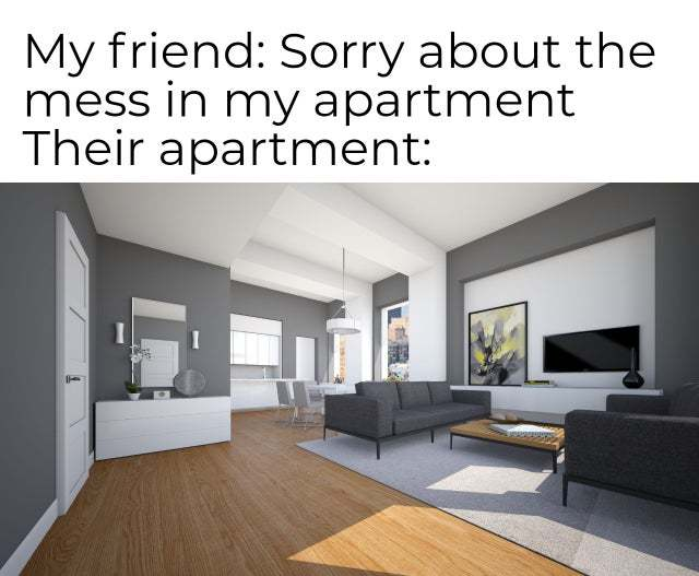 Sorry about the mess in my apartment - meme