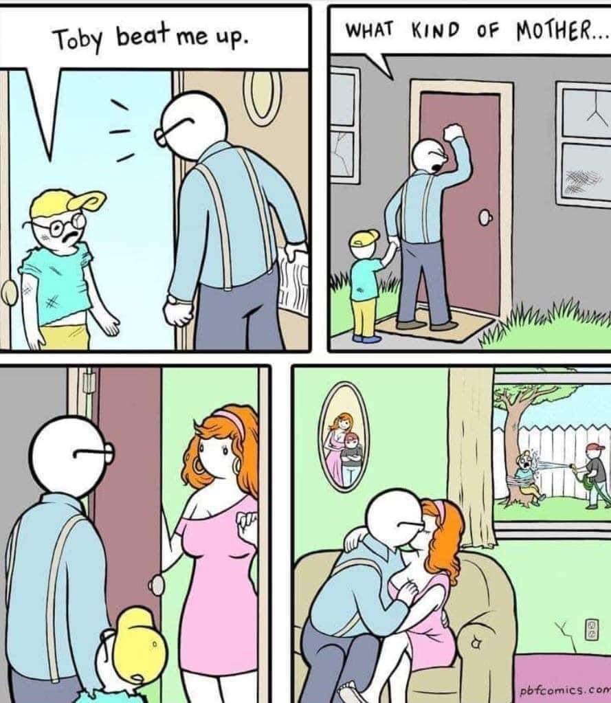Neglectful parenting but it's okay b/c she's hot - meme